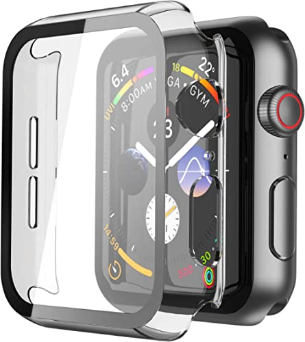 Misxi 2 Pack Hard PC Case with Tempered Glass Screen Protector Compatible with Apple Watch Series 6 SE Series 5 Serie...