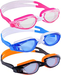 Yuenree Swim Goggles - 3 Pack Adult Swimming Goggles for Men Women Ages 14+ - No Leak, Anti-Fog, UV Protection, Easy to Adjust and Non Slip, Clear Lens - with 3 Hard Travel Cases