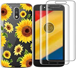 (3 in 1) for Motorola Moto G4/G4 Plus Case + 2 Pack Glass Screen Protector Slim Clear Soft TPU Silicone Phone Case Cover with (Sunflower) Transparent for Moto G (4th Generation) / G4 Plus