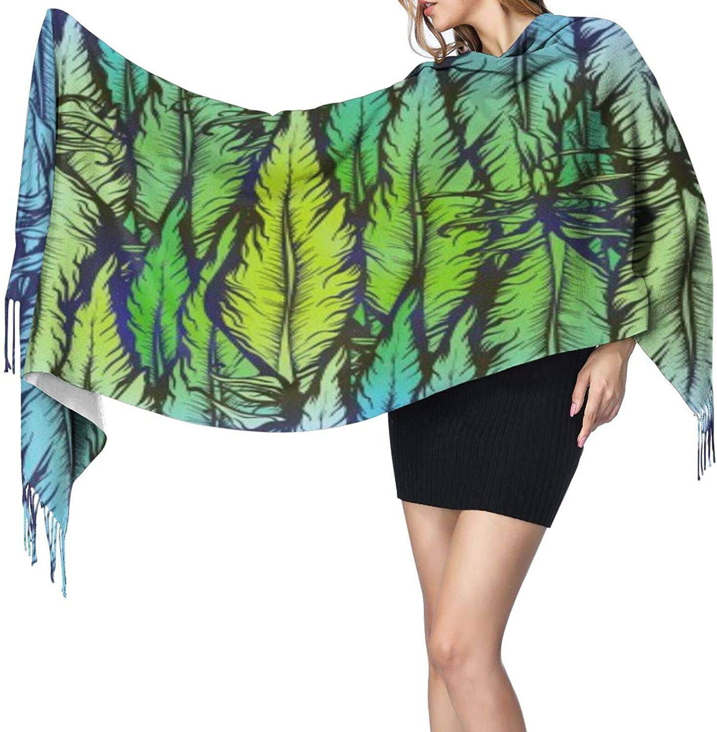 Cashmere fringed scarf artistic feather winter extra large scarf
