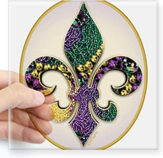 CafePress Fleur De Lis Mardi Gras Beads Oval Sticker Square Bumper Sticker Car Decal, 3