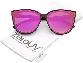 Oversize Colored Mirror Flat Lens Cat Eye Sunglasses 60mm