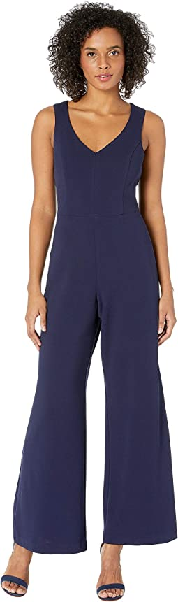 Stretch Crepe Sleeveless V-Neck Bar-Back Jumpsuit