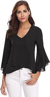 comprar comparacion Abollria Camisa para Mujer 3/4 Mangas Elegante Blusa de Gasa Ligera Camisetas de Chiffon Cuello V Top Mangas Acampanadas P...