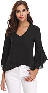 Abollria Camisa de Gasa para Mujer 3/4 Mangas Elegante Blusa