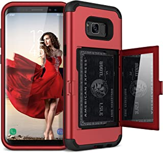 WeLoveCase Galaxy S8 Wallet Case Defender Wallet Design with Hidden Back Mirror and Card Holder Heavy Duty Protection Shockproof 3 in 1 All-Round Armor Protective Case for Samsung Galaxy S8 - Red