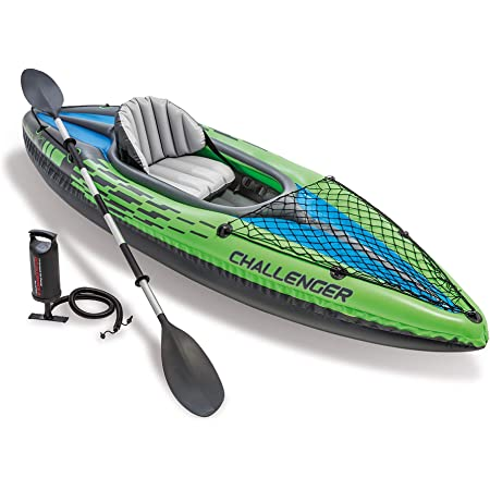 Intex Challenger Kayak, Man Inflatable Canoe with Aluminum Oars and Hand Pump