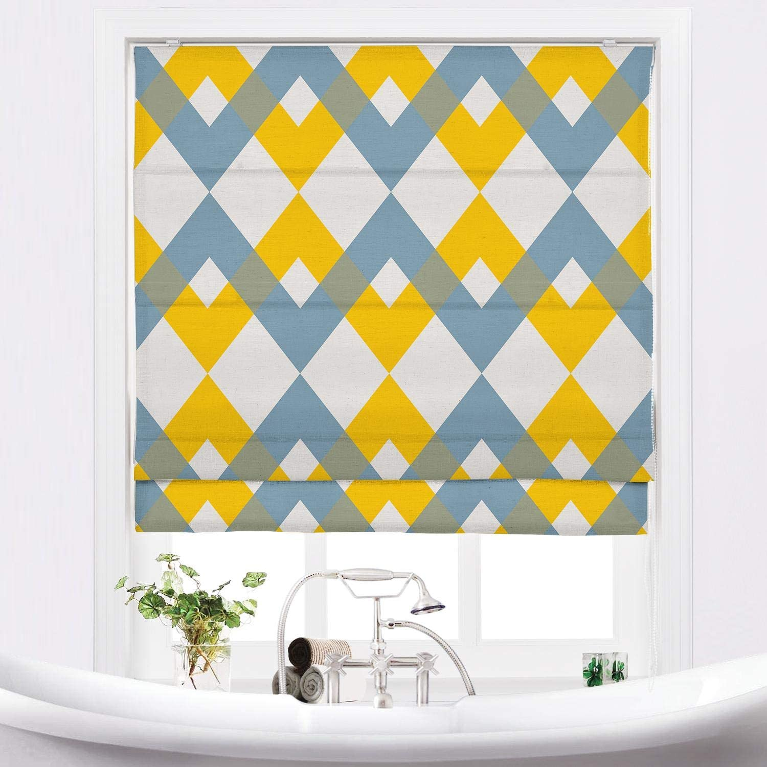 TWOPAGES Customized Roman Shade Linen Print Lo with 18%OFF 贈答