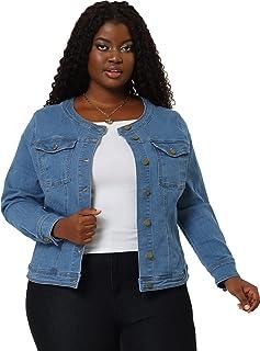 Agnes Orinda Women's Plus Size Long Sleeves Collarless Denim Jacket Sky Blue 2X