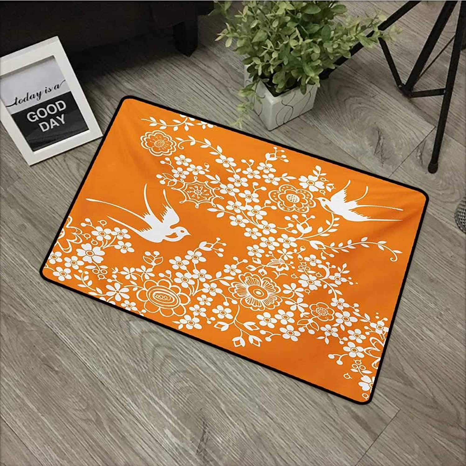 Square Door mat W24 x L35 INCH orange and White,Asian Flora and Fauna Doodle Style Bird Silhouettes and Flowers,orange and White Easy to Clean, no Deformation, no Fading Non-Slip Door Mat Carpet