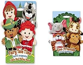 Melissa & Doug Fairy Tale Friends Hand Puppets (Set of 4) - Little Red Riding Hood, Wolf, Grandmother, and Woodsman and Zoo Friends Hand Puppets (Set of 4) - Elephant, Giraffe, Tiger, and Monkey