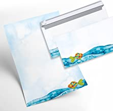 Juego de papel de cartas niños 12hojas + 10sobres peces arco iris de pescado azul turquesa multicolor para invitaciones Cumpleaños Infantil Comunión Bautizo Confirmación Danke Decir