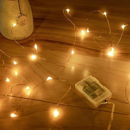Guirlandes Lumineuses à Piles , 1 Paquet Mini 3*AAA Alimenté par Pile Fil de Cuivre Led Lumières de Luciole pour Chambre, Jardin, NoëL, Mariage, Intérieur, Exterieur, Fête, Décoration (5M Blanc Chaud)