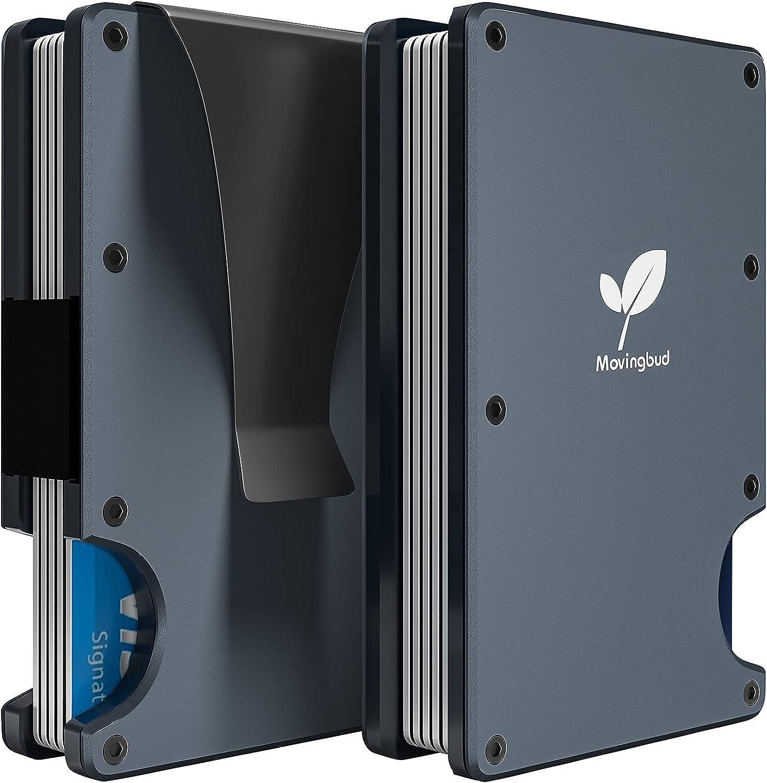 MOVINGBUD Slim Minimalist Front Pocket RFID Blocking Aluminum Metal Wallets for Men with Money Clip