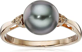 Silver Round Black Tahitian Cultured Pearl (8-9mm) Ring with Diamond Accents, Size7