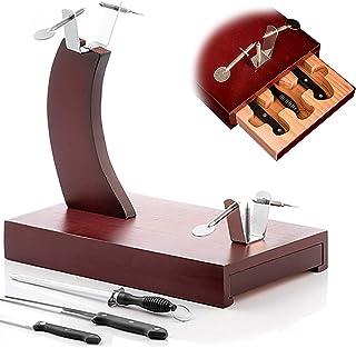 comprar comparacion MovilCom® - Jamonero góndola con cajón, 2 Cuchillos jamoneros, 1 afilador - chaira, Madera Acabado rústico Color Cerezo (M...
