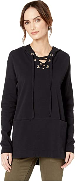 Cotton Interlock Drop Shoulder Lace-Up Hooded Tunic