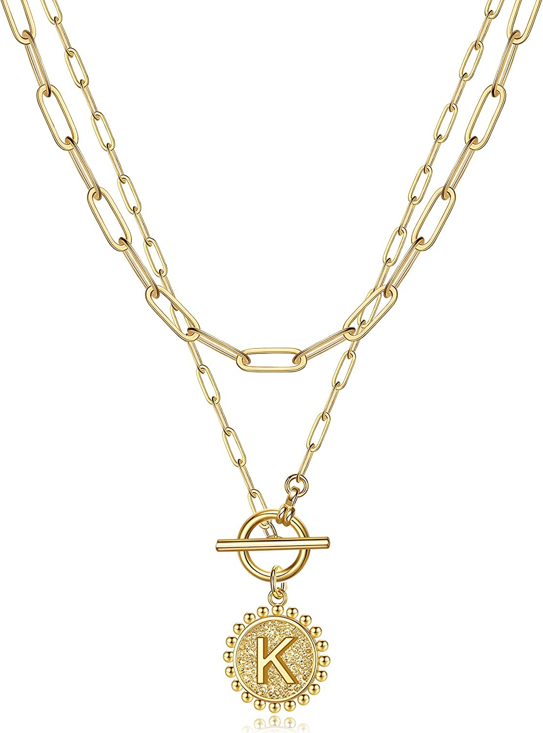 Gold Layered Initial Necklaces for Women, 14K Gold Plated Dainty Layering Paperclip Link Chain Necklace Personalized Toggle Clasp Coin Initial Pendant Layered Necklaces for Women Gold Jewelry
