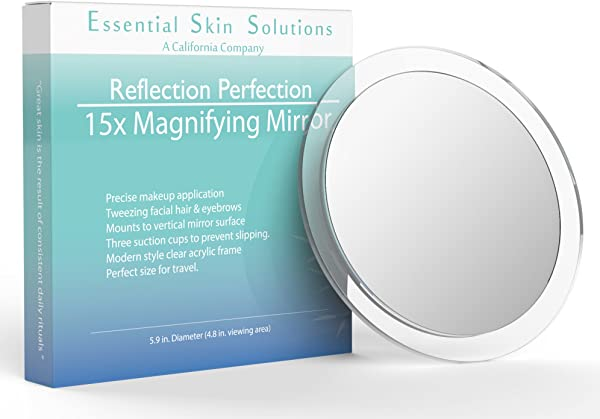 15X Magnifying Mirror Use For Makeup Application Tweezing And Blackhead Blemish Removal 6 Inch Round Mirror With Three Suction Cups For Easy Mounting