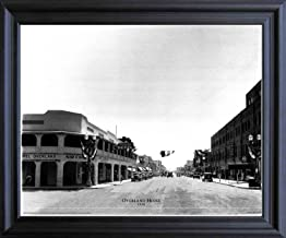 Impact Posters Gallery Las Vegas, Overland Hotel 1930 Vintage Motor Car Old City Black and White Black Framed Wall Decor Art Print Picture