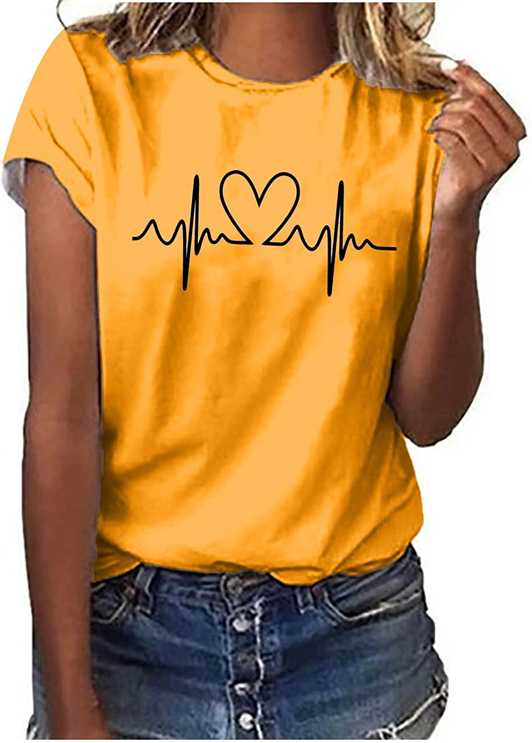 Meichang Crewneck Shirts for Women Short Sleeve Tee Heartbeat Printed Blouse Casual Pullover Tops