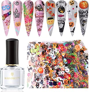 BORN PRETTY Halloween Series Nail Foil Stickers 10 Pcs/Pack Transfer Decals Paper with Nail Foil Adhesive Glue Nail Art