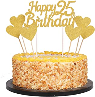 QIYNAO Gold Glittery Happy Birthday Cake Toppers and Love Star Cake Smash Birthday Party Decorations, Candle Alternative Set of 7 (25th)