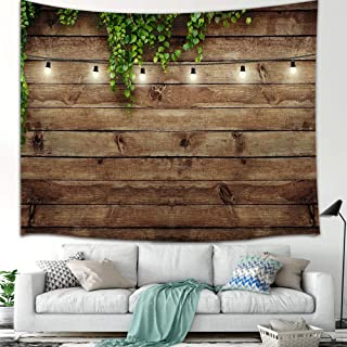 KOTOM Vintage Wooden Board Tapestry Wall Hanging Art, Green Leaves on Wood, Wall Blanket Beach Towels Home Decor Polyester Fabric for Bedroom Living Room Dorm, 60X40 Inches