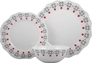 Melange 608410091436 12-Piece 100% Dinnerware Set for 4 Christmas Collection-Grey Holly Shatter-Proof and Chip-Resistant Melamine Dinner Plate, Salad Plate & Soup Bowl (4 Each), 10.5