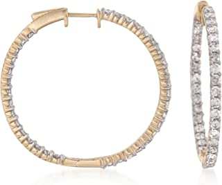 Ross-Simons 3.00 ct. t.w. Diamond Inside-Outside Hoop Earrings in 14kt Yellow Gold