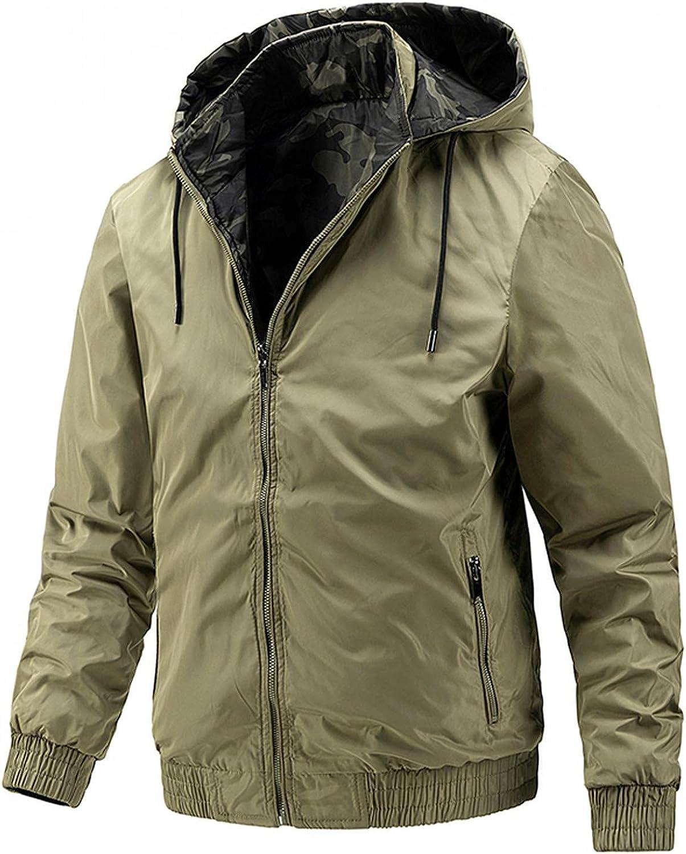 WoCoo Men's Hooded Coats Stand Collar Full Zipper Sportwear Tops Lightweight Double-Sided Bomber Jackets Outerwear