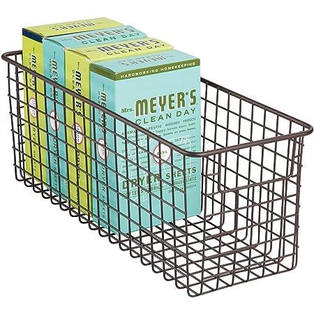 mDesign stockage produits chimiques - boîte de rangement - panier de rangement en métal pour la buanderie - bronze
