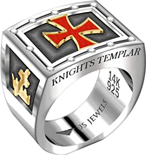 US Jewels and Gems Men's Two Tone 0.925 Sterling Silver and 14k Yellow Gold Freemason Knights Templar Ring Band, Size 8 to 14