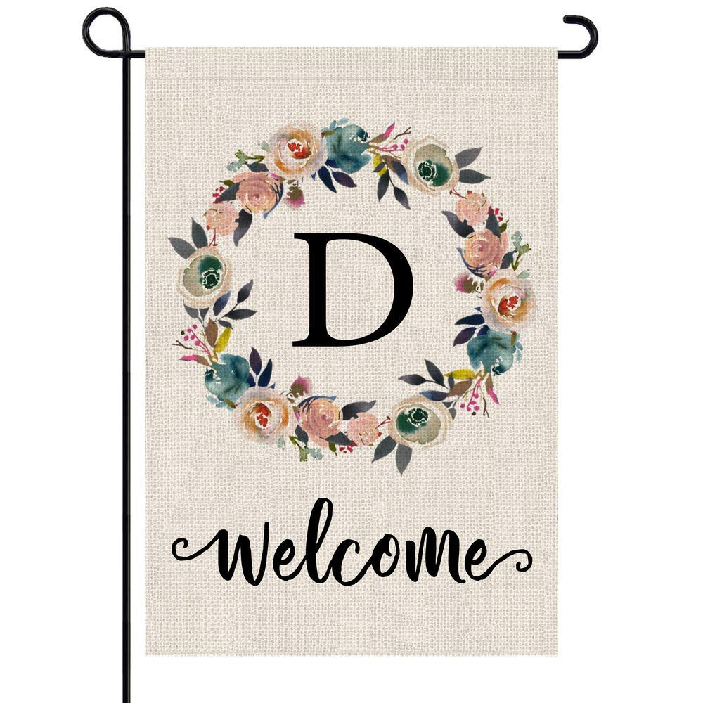 PARTY BUZZ Monogram D Garden Flag, Initial Letter D Yard Patio Lawn Flag (12 x 18, Double Sided)