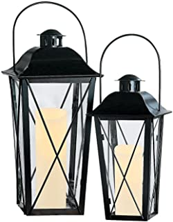 2 WHITE Railroad Hanging Votive Candle Lantern Set NEW
