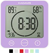 KADAMS Digital Bathroom Shower Kitchen Clock Timer with Alarm, Waterproof for Water Splashes, Visual Countdown Timer, Time...