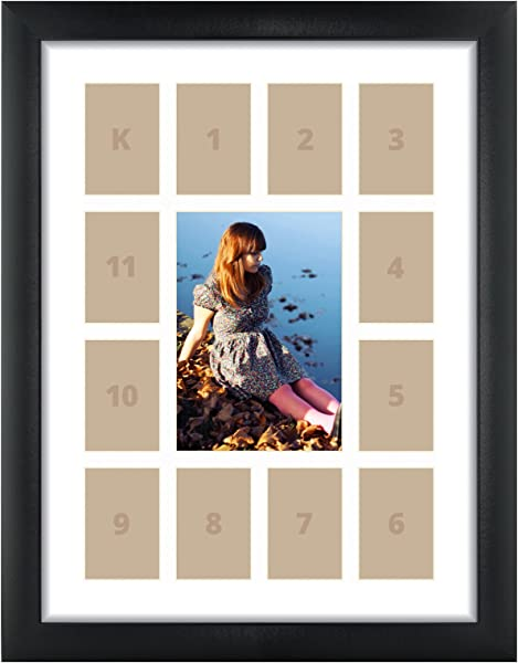 Craig Frames 1WB3BK 12 By 16 Inch Black Picture Frame Single White Collage Mat With 13 Openings