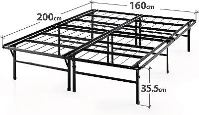 Zinus 35 cm Sommier Très Résistant Smartbase | Sommier Plateforme en Métal | Facile à Monter | Rangement sous le Lit | 160 X 200 cm | Noir