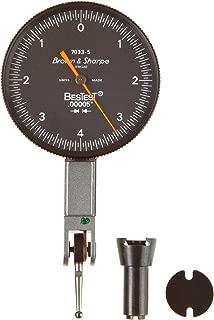 Brown & Sharpe 599-7033-5 Dial Test Indicator Set, M1.4x0.3 Thread, Black Dial, 0-4-0 Reading, 1.5
