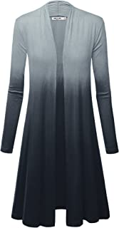 LL Womens Long Sleeve Ombre Open Front Long Cardigan with Stretch