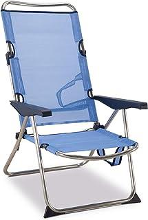 comprar comparacion Solenny 50001072720118 - Silla Playera-Cama Alta 4 Posiciones con Asas con Estabilizadores Azul