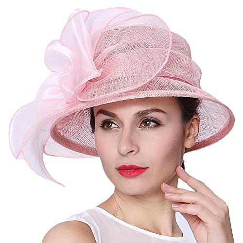 d22137d1f6615 Koola's hats Lady Pink 3 Layers Sinamay Wedding Hats Sun Hat Ascot Race  Derby Hat