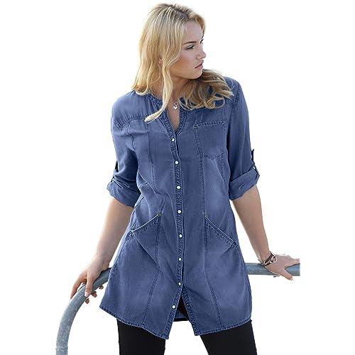 fd4f4e7ce1d Ellos Women s Plus Size Snap Front Denim Tunic
