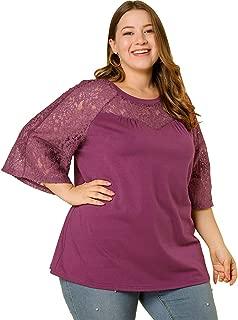 Agnes Orinda Women's Plus Size Round Neck 3/4 Lace Sleeve Blouse Top