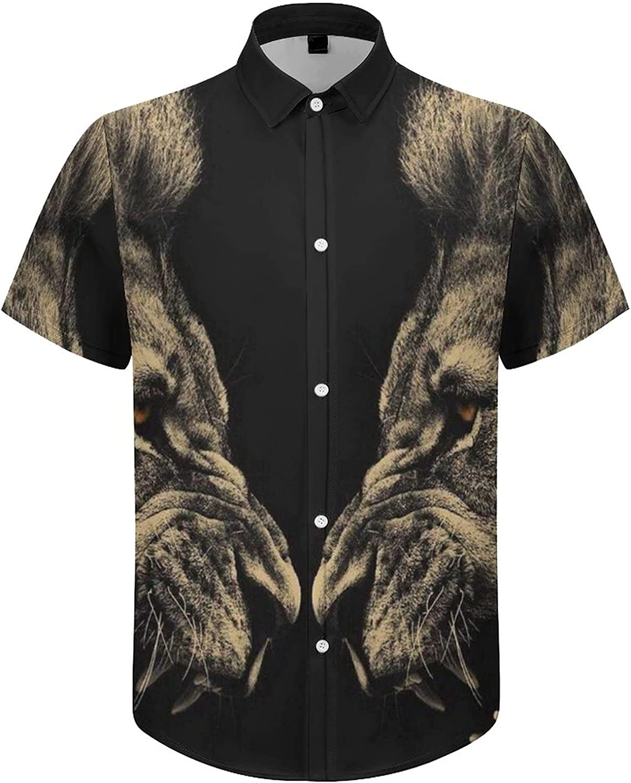 Hawaiian Shirts for Men Angry Lion Printed Beach Shirt Hawaiian Shirts