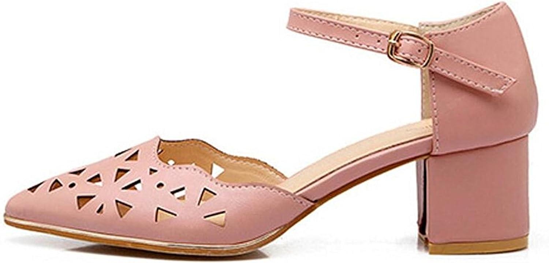 TOGIC Elegant Comfortable Women's Gladiator Mid Rough Heels Wedges Buckle Sandals