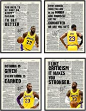 Lebron James Motivational Quotes Dictionary Art Print Set - 8x10 Photo Pictures - Wall, Home, Office Decor, Decoration - G...