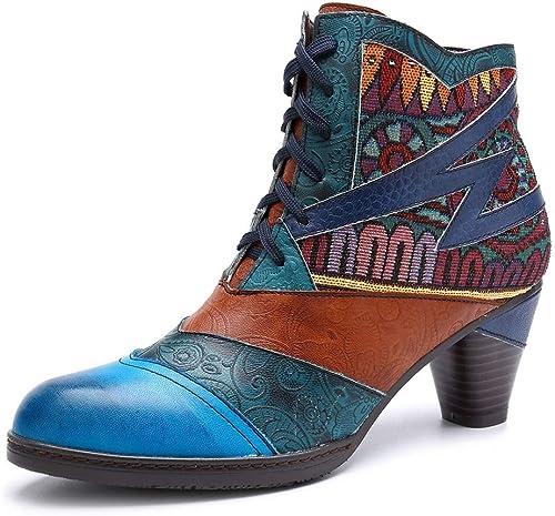 Ruanyi Bottes pour Femmes, Artisanat du Jacquard à la Couture à la Main en Cuir à Lacets Bottes Couleurées pour Les Les dames (Couleur   bleu, Taille   36EU)