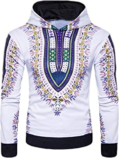 Mogogo Men's Floral Printed Hood Unisex African Relaxed Fit Sweatshirts