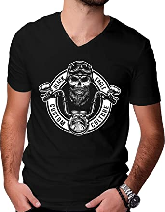 Camiseta para hombre con diseño de calavera de motero, cuello ...